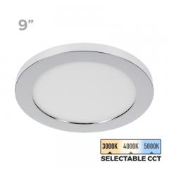 "9"" Selectable White LED Downlight w/ Chrome Trim - 18W Flush Mount Ceiling Light - 1,440 Lumens - 100 Watt Equivalent - Dimmable"
