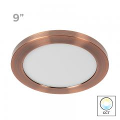 "9"" Selectable White LED Downlight w/ Rose Gold Trim - 18W Flush Mount Ceiling Light - 1,440 Lumens - 100 Watt Equivalent - Dimmable"