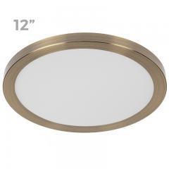 """12"""" LED Downlight w/ Bronze Trim - 24W Flush Mount Ceiling Light - 1,920 Lumens - 125 Watt Equivalent - 4000K/3000K - Dimmable"""