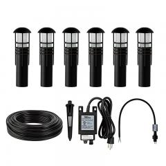 LED Landscape Lighting Kit - (6) 1W Outdoor LED Path Lights - G-LUX Series Low Voltage Transformer