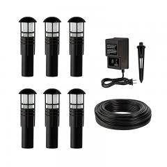 LED Landscape Lighting Kit - 6 Mini Bollard Path Lights - Low Voltage Transformer
