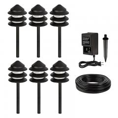 LED Landscape Lighting Kit - 6 Triple Tier Pagoda Path Lights - Low Voltage Transformer