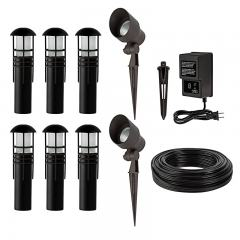 LED Landscape Lighting Kit - 6 Mini Bollard Path Lights - 2 Spotlights - Low Voltage Transformer