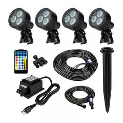 G-LUX Series Landscape Lighting Kit - 4 Color Changing RGB Spotlights - Low Voltage Transformer - Plug and Play