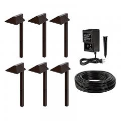 LED Landscape Lighting Kit - 6 Offset Square Head Path Lights - Low Voltage Transformer