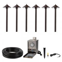 LED Landscape Lighting Kit - (6) LED Ready Path Lights - 1W G4 Bulbs - 75W Pro Grade Low Voltage Transformer