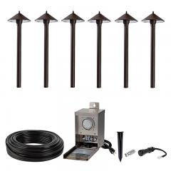 LED Landscape Lighting Kit - 6 Cone Shade Path Lights - Pro Grade Transformer