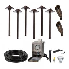 LED Landscape Lighting Kit - 6 Cone Shade Path Lights - 2 Spotlights - Pro Grade Transformer