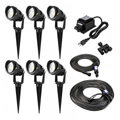 G-LUX Series Landscape Lighting Kit - 6 Spotlights - Low Voltage Transformer - Plug and Play