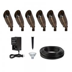 LED Landscape Lighting Kit - 6 Spotlights - Low Voltage Transformer