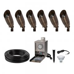 LED Landscape Lighting Kit - 6 Spotlights - Pro Grade Transformer