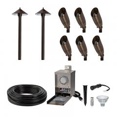 LED Landscape Lighting Kit - (6) 5W LED Ready Spotlights - (2) 1W LED Ready Path Lights - Low Voltage Transformer