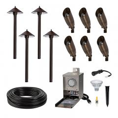 LED Landscape Lighting Kit - 6 Spotlights - 4 Cone Shade Path Lights - Pro Grade Transformer
