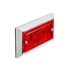 "Rectangular LED Truck and Trailer Lights - 3-3/4"" LED Side Clearance Lights w/ Chrome Bezel - Pigtail Connector - Surface Mount - 2 LEDs"