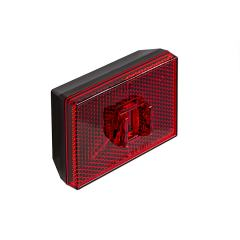 "Rectangular LED Truck Trailer Light w/ Reflex Reflector - 2-7/8"" PC Rated LED Marker Clearance Light - Stud Mount - 2 LEDs"