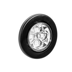 "Round LED Truck and Trailer Lights w/ Clear Lens - 2.5"" LED Side Clearance Lights - 2-Pin Connector - Flush Mount - 4 LEDs"