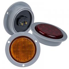 "Round LED Truck and Trailer Lights - 2-1/2"" LED Side Clearance Lights w/ Built-In Flange - 2-Pin Connector - Flush Mount - 13 LEDs"