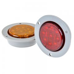 "Round LED Truck and Trailer Lights - 2"" LED Side Clearance Lights w/ Flange - 2-Pin Connector - Flush Mount - 9 LEDs"