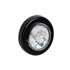 """Round LED Truck and Trailer Lights - 2"""" LED Side Clearance Lights - 2-Pin Connector - Flush Mount - 3 LEDs"""