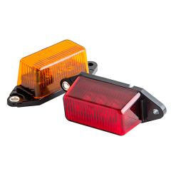 "Rectangular LED Truck and Trailer Lights - 3-1/8"" LED Side Clearance Lights - Pigtail Connector - Surface Mount - 6 LEDs"