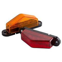 "Rectangular LED Truck and Trailer Lights - 3-1/2"" LED Side Clearance Lights w/ Peak Lens - Pigtail Connector - Surface Mount - 6 LEDs"