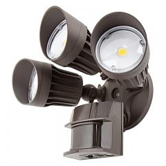 30W Integrated LED Motion Sensor Light - 2,450 Lumens - Brown Adjustable 3 Head Security Light - 3000K