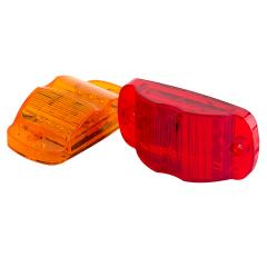 "Rectangular LED Truck and Trailer Lights - 4"" PC Rated LED Side Clearance Lights - Pigtail Connector - Surface Mount - 14 LEDs"