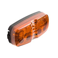 """Rectangular LED Truck and Trailer Lights - 4"""" Double Bullseye LED Side Clearance Lights - Pigtail Connector - Surface Mount - 12 LEDs"""
