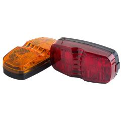 "Rectangular LED Truck and Trailer Lights - 4"" Double Bullseye LED Side Clearance Lights - Pigtail Connector - Surface Mount - 12 LEDs"