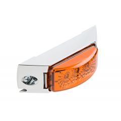 """Rectangular LED Truck and Trailer Lights - 4-3/8"""" LED Side Clearance Lights w/ Chrome Bezel - 2-Pin Connector - Surface Mount - 3 LEDs"""
