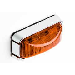 """Rectangular LED Truck and Trailer Lights - 3"""" PC Rated LED Side Clearance Lights w/ Chrome Base - Pigtail Connector - Surface Mount - 3 LEDs"""