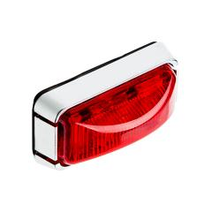 "Rectangular LED Truck and Trailer Lights - 3"" PC Rated LED Side Clearance Lights w/ Chrome Base - Pigtail Connector - Surface Mount - 3 LEDs"