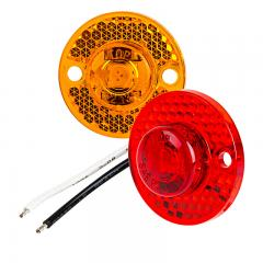 "Mini Round LED Truck and Trailer Lights - 1"" LED Clearance Lights - Pigtail Connector - Fender Mount - 1 LED"
