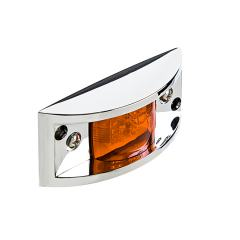 "Rectangular LED Truck and Trailer Lights - 4-7/8"" LED Side Clearance Lights w/ Chrome Bezel - Pigtail Connector - Surface Mount - 6 LEDs"