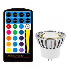 Color-Changing MR16 LED Bulb w/ Remote - 10 Watt Equivalent - 12V AC/DC - RGB LED Spotlight Bulb - 80 Lumens