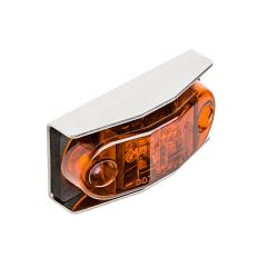 """Mini Oval LED Truck and Trailer Lights - 2-1/2"""" LED Side Clearance Lights w/ Stainless Steel Bracket - Pigtail Connector - Surface Mount - 2 LEDs"""