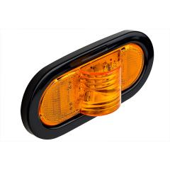 """Oval LED Truck and Trailer Light - 6"""" LED Mid-Ship Turn Signal and Side Marker Light - 3-Pin Connector - Flush Mount - 9 LEDs"""