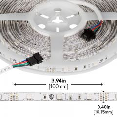 RGB LED Strip Lights - 12V LED Tape Light w/ LC4 Connector - 122 Lumens/ft.