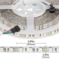 RGB LED Strip Lights - 12V LED Tape Light w/ LC4 Connector - 244 Lumens/ft.
