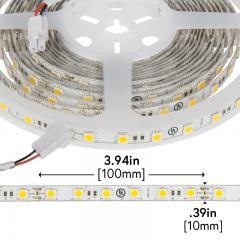 5050 White LED Strip Light - LED Tape Light w/ Plug-and-Play LC2 Connector - 24V - IP20 - 375 lm/ft