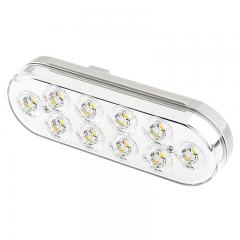 "Oval LED Back-Up Truck and Trailer Light - 6"" LED Reverse Light - 3-Pin Connector - Flush Mount - 10 LEDs"