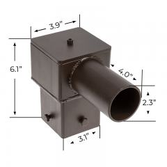 "Tenon Adapter for 4"" Square Poles - (1) Horizontal Tenon – 2-3/8"" Slipfitter Compatible"