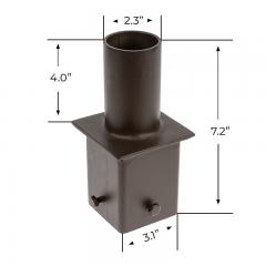 "2-3/8"" Round Tenon Adapter for 4"" Square Poles – (1) Vertical Tenon"