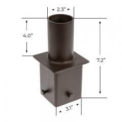 """2-3/8"""" Round Tenon Adapter for 4"""" Square Poles – (1) Vertical Tenon"""
