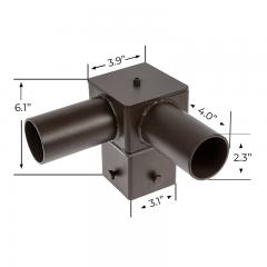 "Tenon Adapter for 4"" Square Poles - (2) Horizontal 90° Tenons"