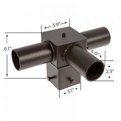 "Tenon Adapter for 4"" Square Poles - (3) Horizontal 90° Tenons"