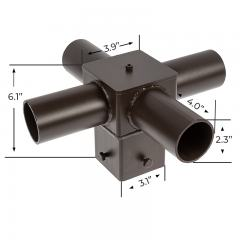 "Tenon Adapter for 4"" Square Poles - (4) Horizontal 90° Tenons"
