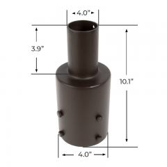 """2-3/8"""" Round Tenon Reducer for 4"""" Round Poles - (1) Vertical Tenon"""