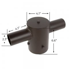 "Tenon Adapter for 4"" Round Poles - (2) Horizontal 180° Tenons"