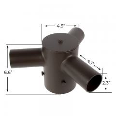 "Tenon Adapter for 4"" Round Poles - (3) Horizontal 120° Tenons"